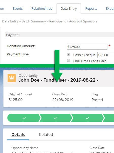 Screenshot Salesforce-Panorama (Artez) Connector Donations